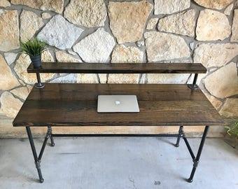 Office desk with shelf Corner Wood Office Desk With Shelf Etsy Office Desk Etsy