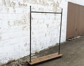 """Industrial Iron Pipe """"Straight Up Hook"""" Clothes Rack"""
