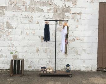 Industrial 2 Way Clothing Rack