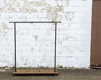 """Industrial Iron Pipe """"Side Hook"""" Clothes Rack"""