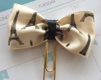 Planner bow, Paper Clip Bow, Eiffel Tower Bow Planner Clip, Paris Bow paperclip, French bowtie clip diary journal decor, planner accessories