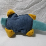 Muskrat Gold & Teal Squeaker No Stuffing Dog Toy Recycled