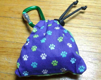 Poop Bag Dispenser Mini Paw w/Biodegradable Bags