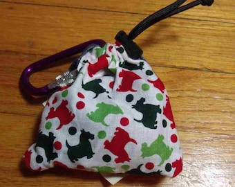 Poop Bag Dispenser Christmas Scottie w/Biodegradable Bags