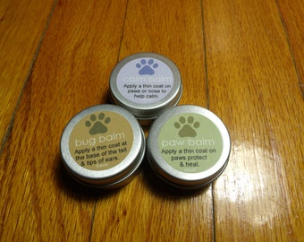 All Natural Dog Paw Balm Combo Travel Size (Paw Balm, Calm Balm & Bug Balm)