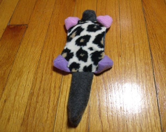 Muskrat Squeaker No Stuffing Dog Toy Recycled Purple Cheetah