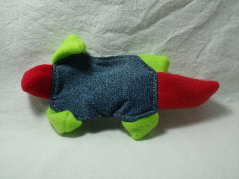 Muskrat Red & Green Squeaker No Stuffing Dog Toy Recycled image 0