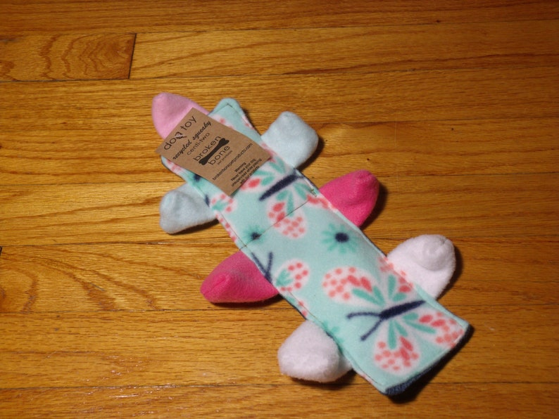 Cent-2 Squeaker No Stuffing Dog Toy  Recycled Denim Butterfly image 0