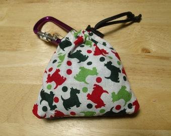 Poop Bag Dispenser Holiday Scottie w/Biodegradable Bags