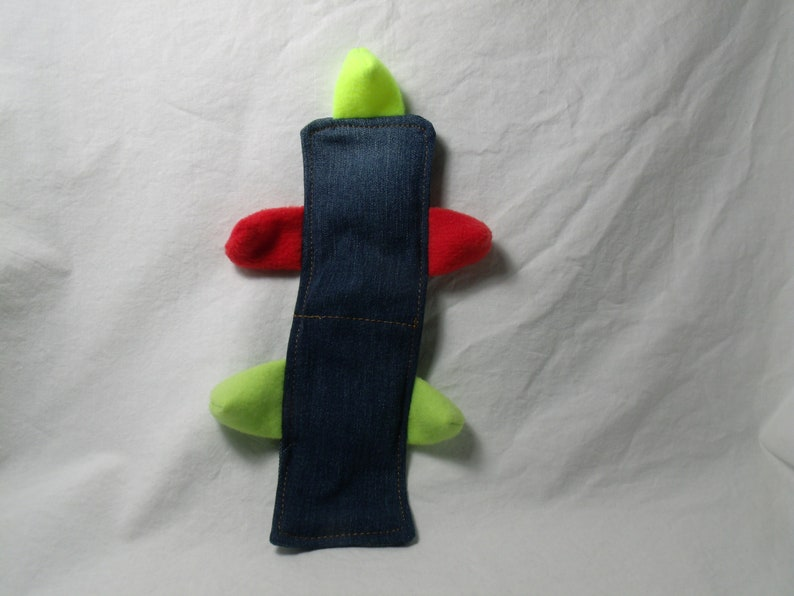 Cent-2 Squeaker No Stuffing Dog Toy  Recycled Denim image 0