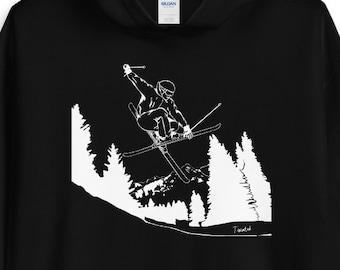 it's ski time - hooded sweatshirt