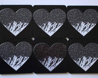 mountain love coasters