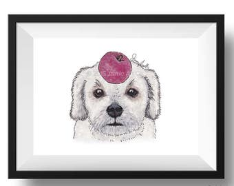 Dog Art Print - Lhasa Apso and Apples, Childrens Art, Kids Wall Art, Frameable Art, Animal Wall Art, Dog Art, Dog Portrait, Pet Art