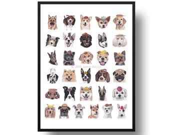 Dog Art Print - Dog Breeds and Food, Childrens Art, Kids Wall Art, Frameable Art, Animal Wall Art, Dog Art, Dog Portrait, Pet Art