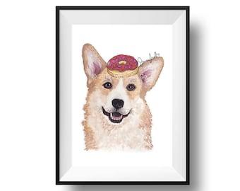 Dog Art Print - Corgi and Donuts, Childrens Art, Kids Wall Art, Frameable Art, Animal Wall Art, Dog Art, Dog Portrait, Pet Art