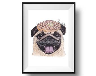 Dog Art Print - Pug and Waffles, Childrens Art, Kids Wall Art, Frameable Art, Animal Wall Art, Dog Art, Dog Portrait, Pet Art