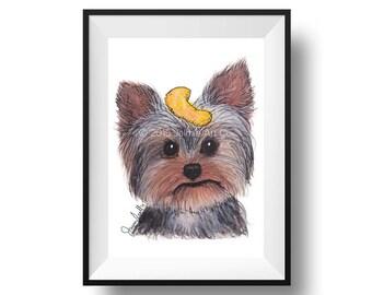 Dog Art Print - Yorkshire Terrier and Puffs, Childrens Art, Kids Wall Art, Frameable Art, Animal Wall Art, Dog Art, Dog Portrait, Pet Art