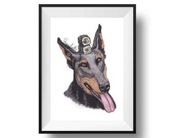 Dog Art Print - Doberman and Sushi, Childrens Art, Kids Wall Art, Frameable Art, Animal Wall Art, Dog Art, Dog Portrait, Pet Art
