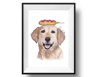 Dog Art Print - Lab and Corn Dogs, Childrens Art, Kids Wall Art, Frameable Art, Animal Wall Art, Dog Art, Dog Portrait, Pet Art