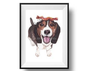 Dog Art Print - Beagle and Bacon, Childrens Art, Kids Wall Art, Frameable Art, Animal Wall Art, Dog Art, Dog Portrait, Pet Art