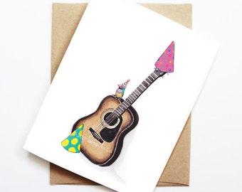 Guitar birthday card etsy birthday card finch on acoustic guitar animal birthday animal card cute greeting card kids birthday card baby birthday card guitar m4hsunfo