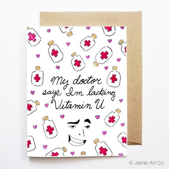 carte d 39 amour dr le vitamine u pense vous carte etsy. Black Bedroom Furniture Sets. Home Design Ideas