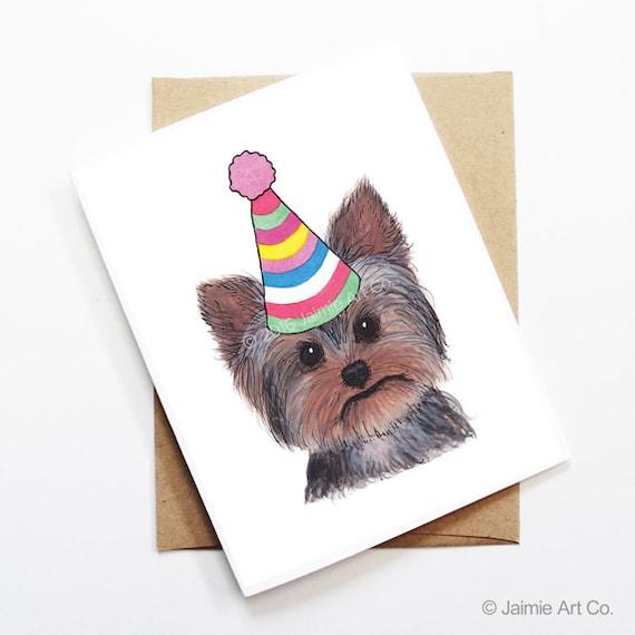Karte Yorkshire Terrier Hund Geburtstagskarte Niedlichen Etsy