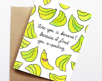 Funny Love Card - Banana, Thinking of You Card, Blank Card, Just Because Card, Cute Greeting Card, Anniversary Card, Funny Valentine