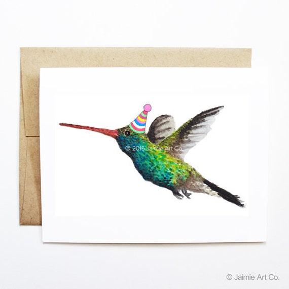 Birthday Card - Hummingbird, Animal Birthday, Animal Card, Cute Greeting Card, Kids Birthday Card, Baby Birthday Card, Hummingbird Card