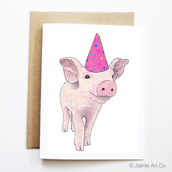 Birthday Card - Piglet, Animal Birthday, Animal Card, Cute Greeting Card, Kids Birthday Card, Baby Birthday Card, Piglet Birthday