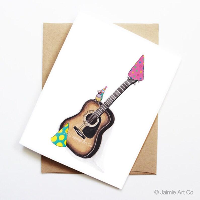 Birthday Card Finch On Acoustic Guitar Animal