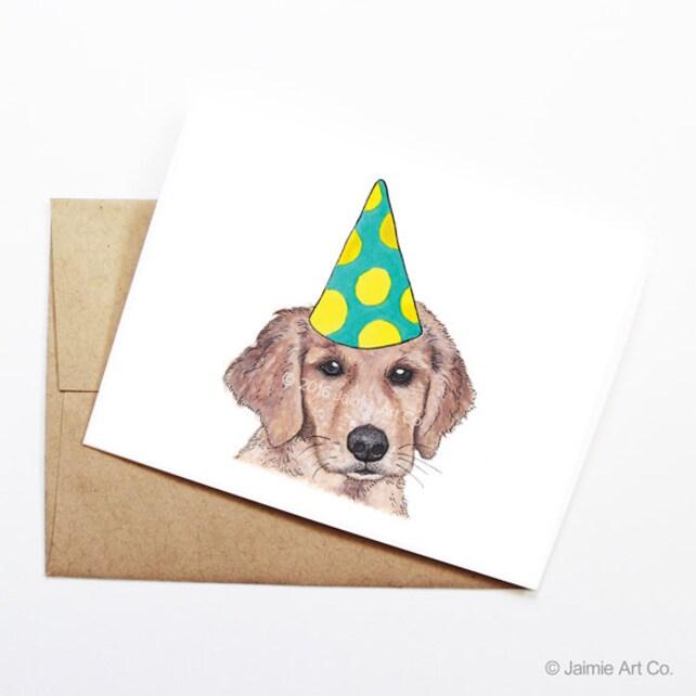 Birthday Card Golden Retriever Dog Birthday Card Cute Birthday
