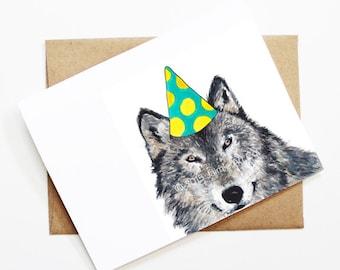 Birthday Card - Wolf, Animal Birthday, Animal Card, Cute Greeting Card, Kids Birthday Card, Baby Birthday Card, Blank Wolf Card