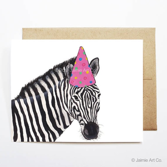 Birthday Card Zebra Animal Birthday Animal Card Cute Etsy