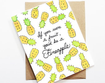 Funny Love Card - Fineapple, Thinking of You Card, Blank Card, Just Because Card, Cute Greeting Card, Anniversary Card, Funny Valentine