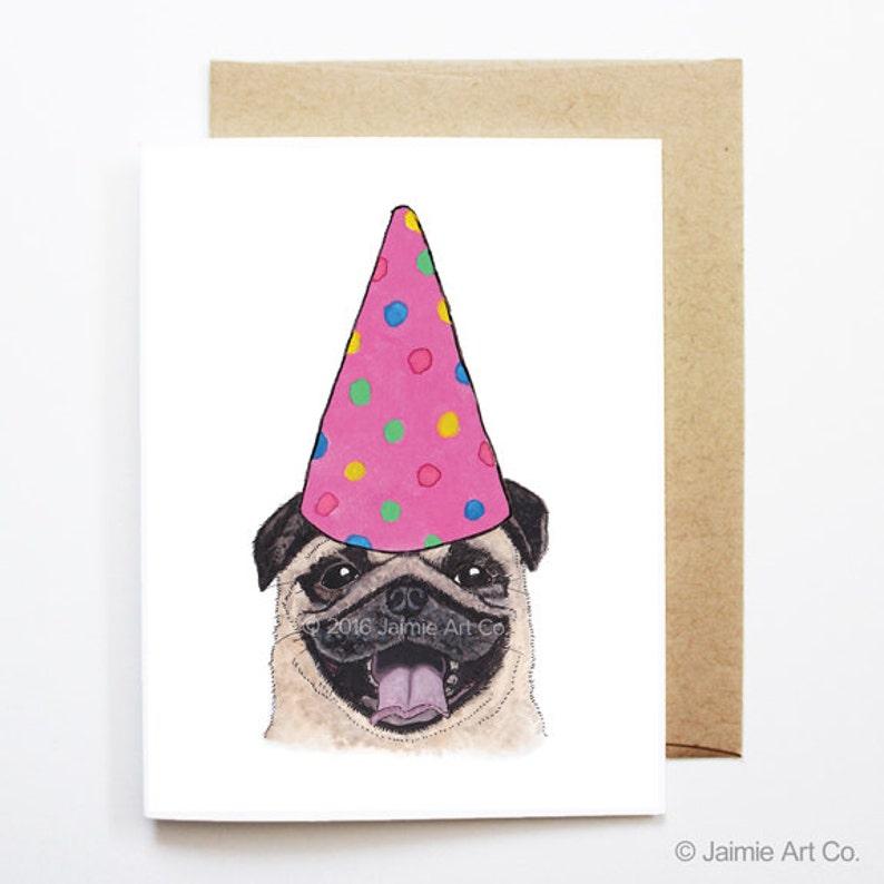 Birthday Card Pug Dog Cute