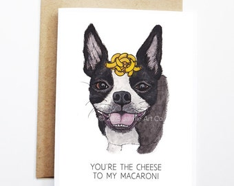 Cute Love Card - Boston Terrier, Funny Love Card, Funny Card, Dog Card, Cute Dog Card, Cute Greeting Card, Anniversary Card, Funny Valentine