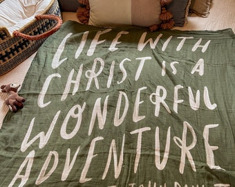 PRE-ORDER* Life With Christ Muslin Swaddle