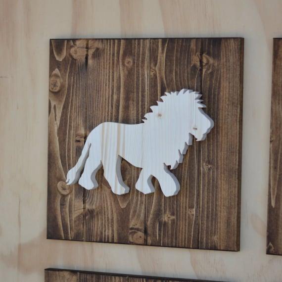 Lion Wood Safari Animal Plaque Cutout 13