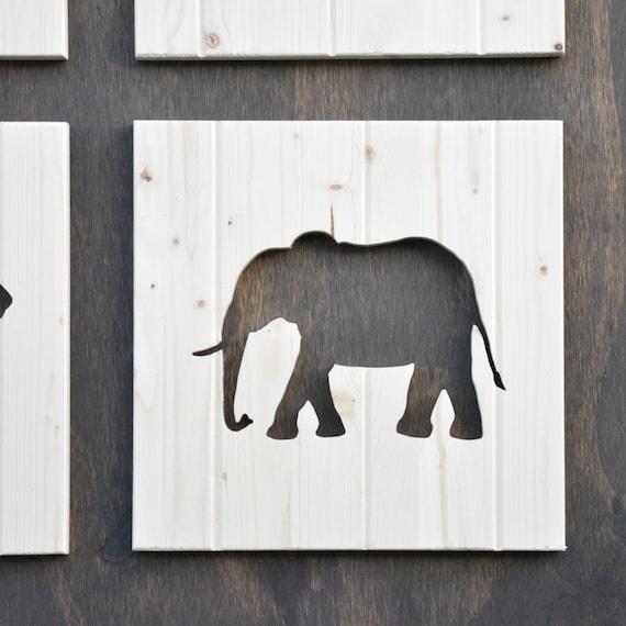 Elephant Wood Silhouette Safari Animal Cutout 13