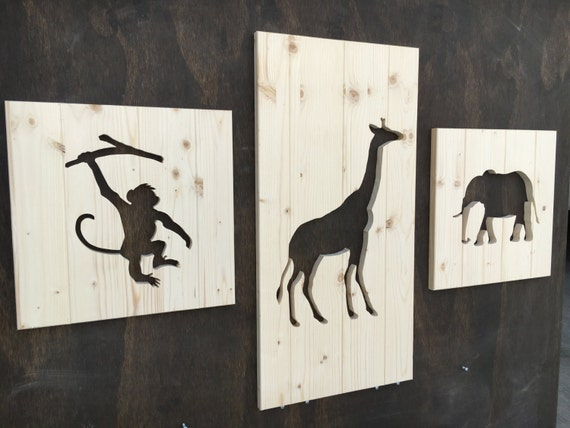 Wood Safari Animal Silhouette Cutouts 3 Pieces