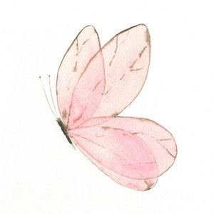 Pink watercolor butterfly crystal metal disc painting