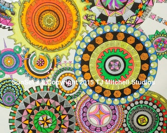 Sunset # 8 - A Limited Edition Print of Original Zentangle/Zendoodle print by TJ MItchell