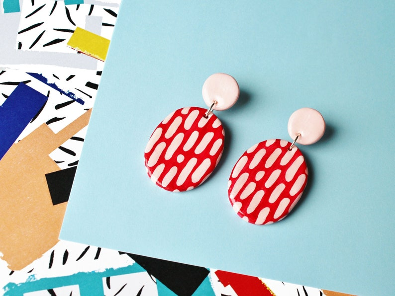 Red and Pink Splatter Pattern Two-Piece Stud Earrings  image 0
