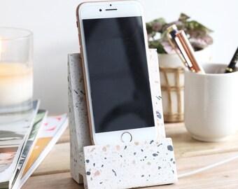 White Terrazzo Phone Stand
