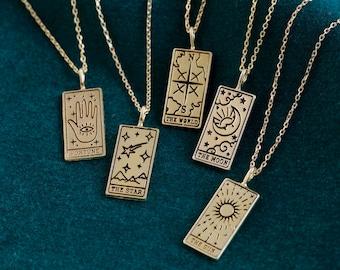 Gold Tarot Card Pendant Necklace - Sun - Moon - Fortune - Star - World