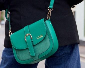 Personalised Initials Vegan Leather Crossbody Handbag - Green - Black - Yellow - Mustard