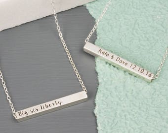 Personalised Sterling Silver Horizontal Bar Necklace