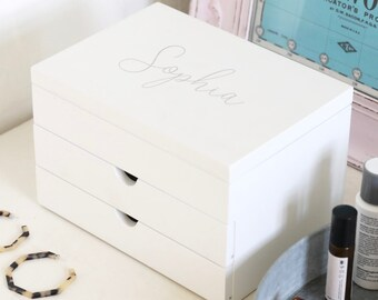 7f52b8ea32e Personalised Name White Jewellery Box with Drawers