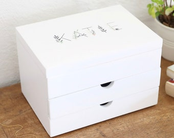 cb9ac90c1 Personalised White Floral Jewellery Box with Drawers